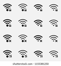 Set of data transfer concept includes wireless signal with indicators. Black and white vector illustration.