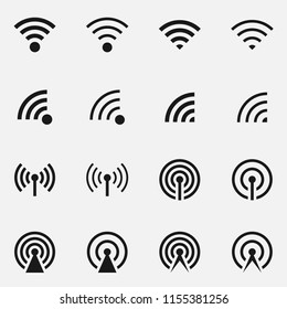 Set of data transfer concept includes antenna tower and wireless signal. Black and white vector illustration.