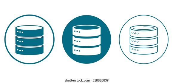 set of database (DB) icons