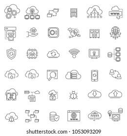 set of database system and process line thin icon with modern and simple style, editable stroke.