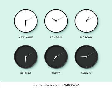 Set of day and night clock for time zones different cities. Black and white watch on a menthol background. Vector Illustration