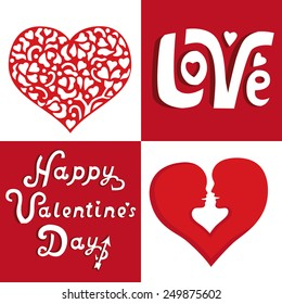 Set of Day Valentine hearts, words greeting love themed decorative vectors