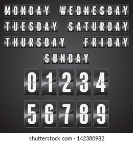 Set of days of the week with numbers on a mechanical timetable. Vector.