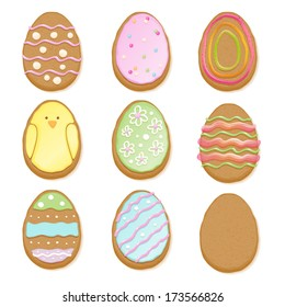 Set of decorated easter cookies of egg form. Assorted cookies, good for holiday design.