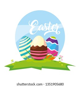 set of decorated easter eggs with candies in grass