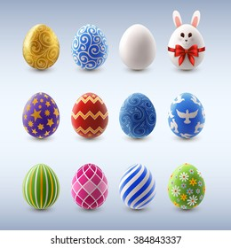 Set of decorated Easter eggs, EPS 10 contains transparency