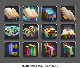 Set of decoration icons for games. Collection of magic books. Vector illustration.