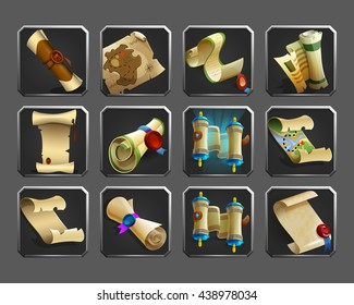 Set of decoration icons for games. Collection of scrolls, parchments, maps. Vector illustration.