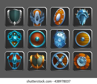 Set of decoration icons for games. Collection of medieval shields. Vector illustration.