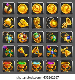 Set of decoration icons for games. Golden reward, treasure, achievement and token. Vector illustration.