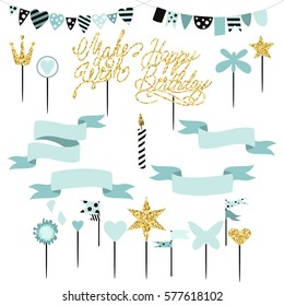 Set of decoration, toppers, candles and garlands with flags. Vector hand drawn illustration, scandinavian style in mint colors with gold glittering elements.