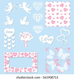 Set decoration for Valentine's Day. Isolated objects in the form of hearts, cupids, doves. Frames and seamless patterns. You can use for holiday cards, invitations, decorations. Vector illustration.