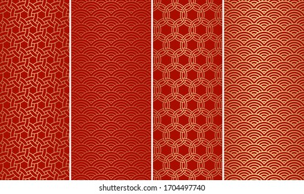 Set of decorative abstract geometrical golden seamless pattern on a red background. Traditional oriental ornaments. Vector illustration.