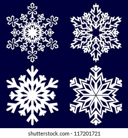 Set of decorative abstract paper snowflakes.. Vector illustration.