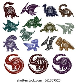 A set of decorative ancient totemic style dinosaurs
