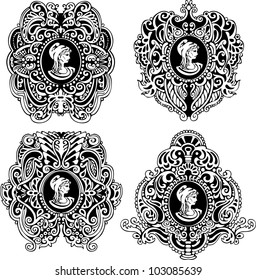 Set of decorative antique cameos with woman portrait in profile. Black and white vector illustrations.