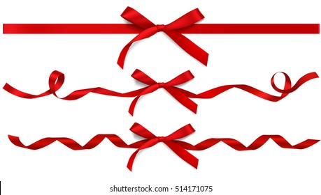 Set of decorative beautiful red bows with horizontal ribbons isolated on white. Vector bow