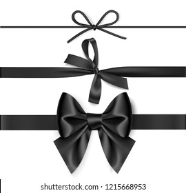 Set of decorative black bow with horizontal ribbon isolated on white background. Black Friday Sale decorations. Vector illustration