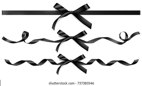 Set of decorative black bow with horizontal ribbon for black friday sale decoration. Vector illustration.
