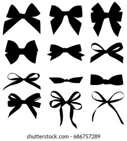 Set of decorative black bow silhouette. Vector bow for your design