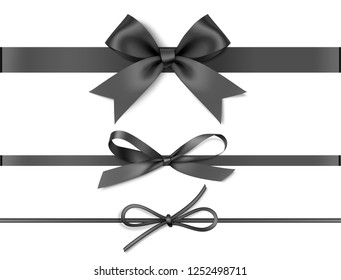Set of decorative black bows with horizontal black ribbons isolated on white background. Vector illustration.