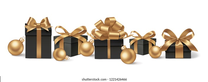 Set of decorative black gift boxes with golden bows and gold Christmas balls isolated on white for New Year Sale design. Vector illustration. Holiday decorations