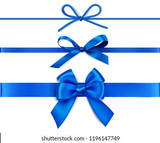 Set of decorative blue bows with horizontal blue ribbons isolated on white. Vector illustration