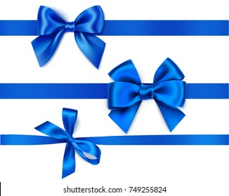 Set of decorative blue bows with horizontal ribbons isolated on white. Vector illustration