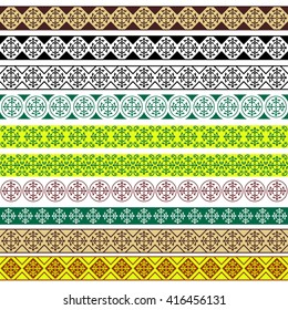 Set of decorative borders, Arabic style. Pattern brushes for rectangular frames are included.