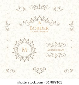 Set of decorative  borders, monograms and seamless pattern. Template signage, labels, stickers, cards. Graphic design page. Classic design elements for wedding invitations.