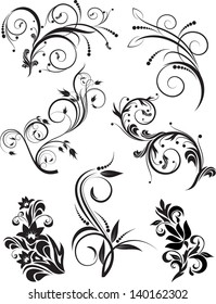 Set of decorative branches for design. Vector illustration.