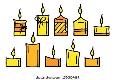 set of decorative burning candles isolated on a white background