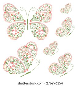 Set of decorative butterflies with floral ornament isolated on white background. Vector illustration.
