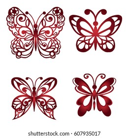 Set of decorative butterflies. Vector illustration.