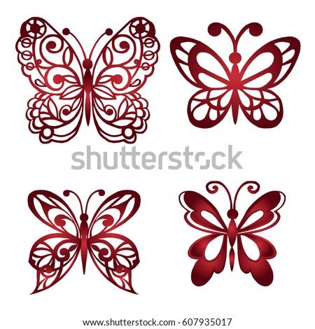 Set Decorative Butterflies Vector Illustration Stock Vektorgrafik