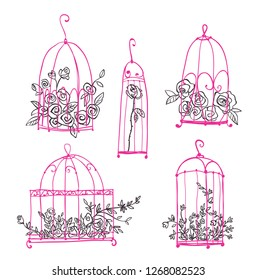 Set of decorative cages with flowers, vector line art