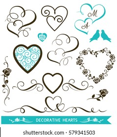 Set of decorative calligraphic hearts for wedding invitation design. Valentine's Day love hearts and floral elements. Vector illustration