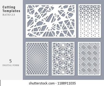 Set decorative card for cutting. Abstract geometric linear