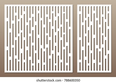 Set decorative card for cutting. Abstract lines pattern. Laser cut. Ratio 1:1, 1:2. Vector illustration.