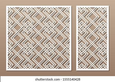 Set decorative card for cutting. Linear square geometric celtic weave pattern. Laser cut. Ratio 1:1, 1:2. Vector illustration.