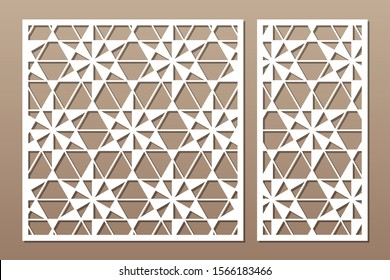 Set decorative card for cutting. Linear square geometric mosaic pattern. Laser cut. Ratio 1:1, 1:2. Vector illustration.
