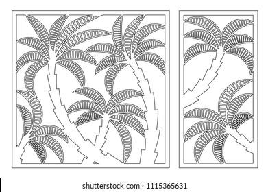 Set decorative card for cutting. Palm leaf pattern. Laser cut panel. Ratio 1:1, 1:2. Vector illustration.