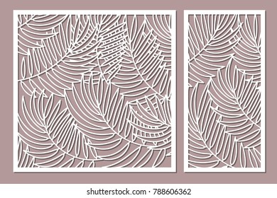 Set decorative card for cutting. Palm leaf pattern. Laser cut. Ratio 1:1, 1:2. Vector illustration.