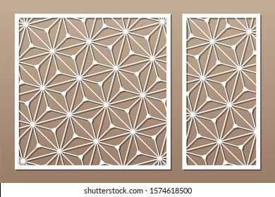 Set decorative card for cutting. Recurring geometric mosaic pattern. Laser cut. Ratio 1:1, 1:2. Vector illustration.