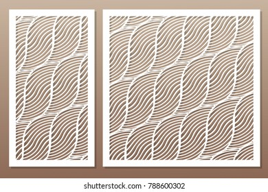 Set decorative card for cutting. Rope, squiggly line pattern. Laser cut. Ratio 1:1, 1:2. Vector illustration.