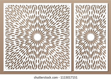 Set decorative card for cutting. Scandinavian style pattern. Laser cut panel. Ratio 1:1, 1:2. Vector illustration.
