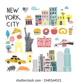 Set of decorative cartoon symbols of New York drawn by hand in pastel colors. Elements of American urban lifestyle for posters, cards, invitations, banners on the site. Flat cute vector illustration