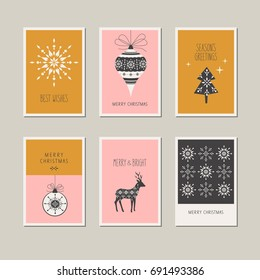 set of decorative christmas cards