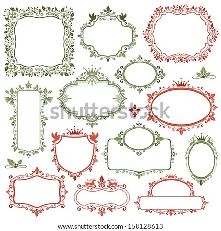set of decorative christmas frames and labels - Decorative Christmas Labels