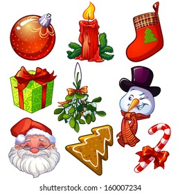 Set of decorative Christmas icons.  Vector illustration on white background. Design element for Christmas cards.